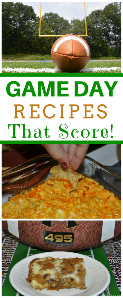 Time to host a Big Game party? No problem if you plan this Buffalo Chicken Dip and Chocolate Chip Cheesecake Bars. These dishes are total scores that will have guests smiling and asking for the recipes. Win the game day with these recipes at your next football party. #BigGame #football #party #recipe