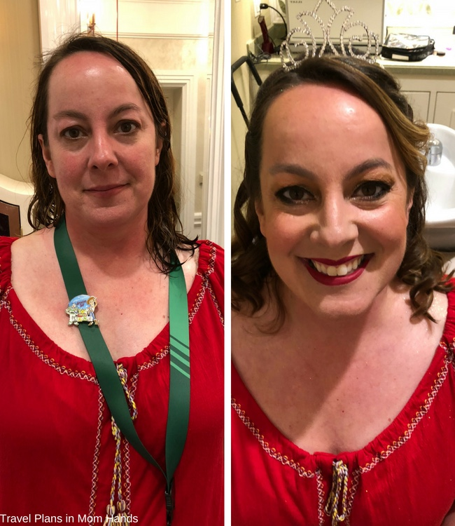 "Disney's Character Couture Makeovers had me going from the Beast to the ""Belle"" of the ball as you can see in this before and after photo."