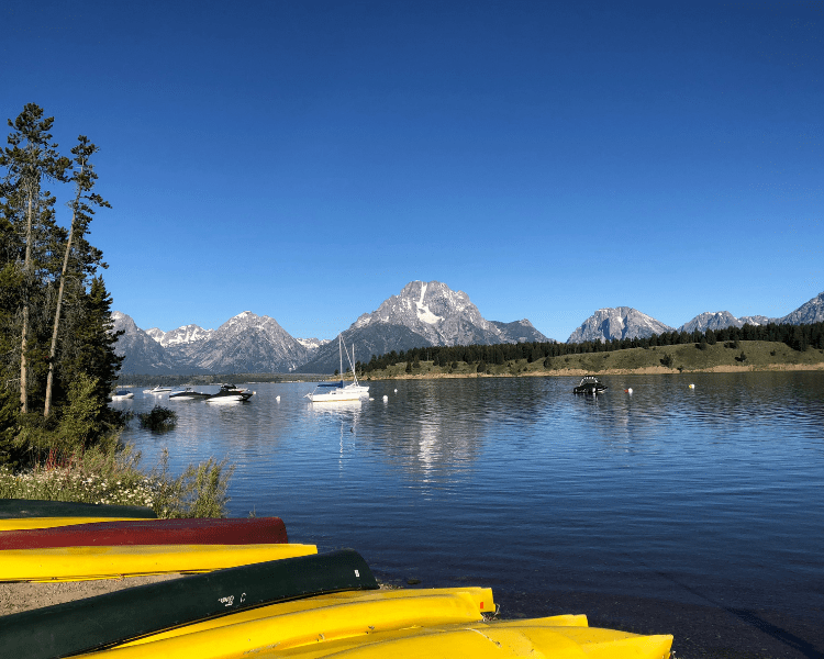 Signal Mountain Lodge should be on every Grand Teton National Park guide as a great place to stay for views of Jackson Lake and the water amenities like these canoes and kayaks.