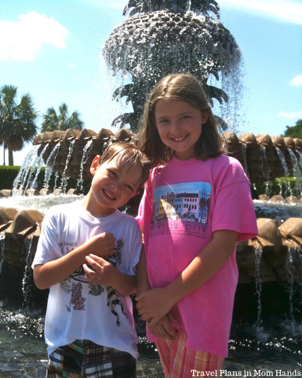 Kids delight at the Pineapple Fountain at Waterfront Park-who doesn't love splashing around in the cool waters?!