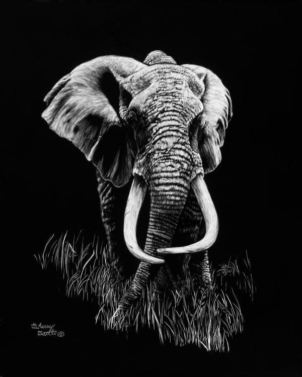 Sherry Steele Artwork - Mawingu   Elephant