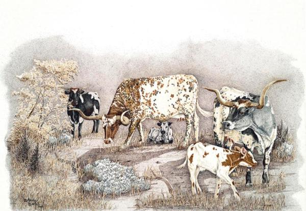 Sherry Steele Artwork - Sagebrush Babes   Longhorns