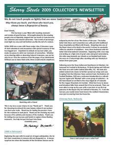 2009 Sherry Steele Newsletter