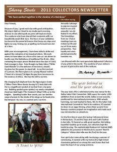 2011 Sherry Steele Newsletter