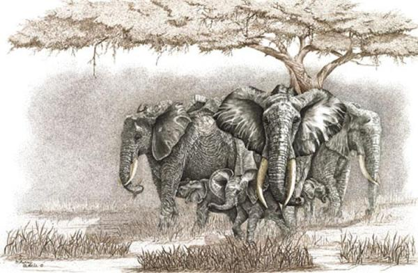 Sherry Steele Artwork - Spirit of Mother Africa | Elephants