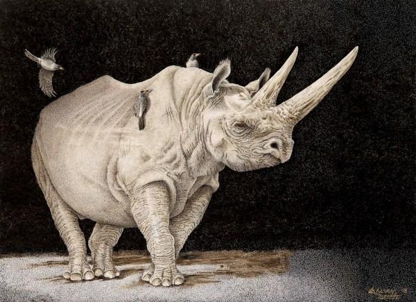 Sherry Steele Artwork - Point of No Return   Rhinos