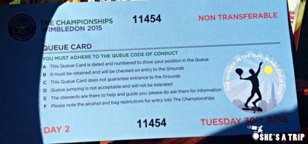 Wimbledon Queue Card Instructions