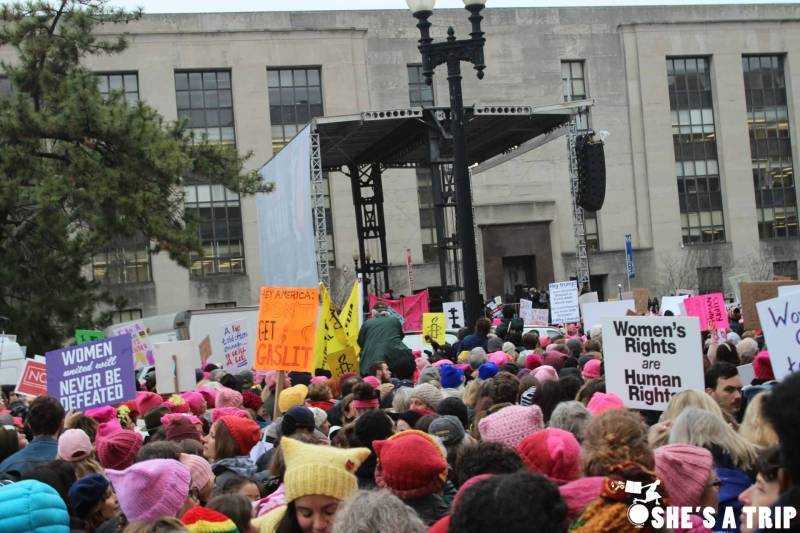 What was it like at the women's march on Washington stage