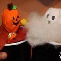 Halloween Arts & Crafts: Pumpkin and Ghost Pop Up Lollipop Puppets