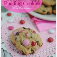 Valentine Chocolate Chip Pudding Cookies