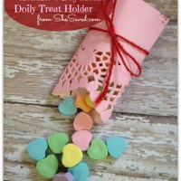 She's Crafty! Valentine's Day Heart Doily Treat Holder