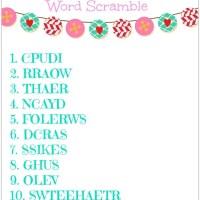 FREE Valentine's Day Word Scramble Printable
