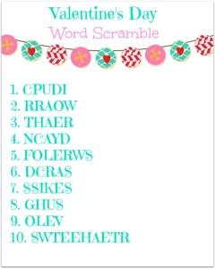 Valentines Word Scramble