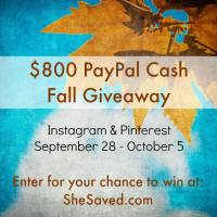 Enter to WIN!! $800 Fall PayPal Cash Giveaway!