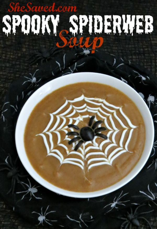 Spiderweb Soup is easy to make and SO fun for a spooky way to serve up some Halloween fun!