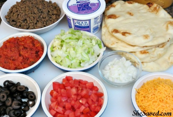 Everything that you will need to make yummy taco pizza flatbread for your family!