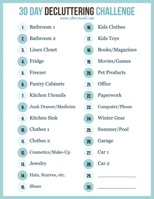 Print out my FREE 30 Day decluttering challenge printable to help you get a jump start on organizing and spring cleaning! We can do this!