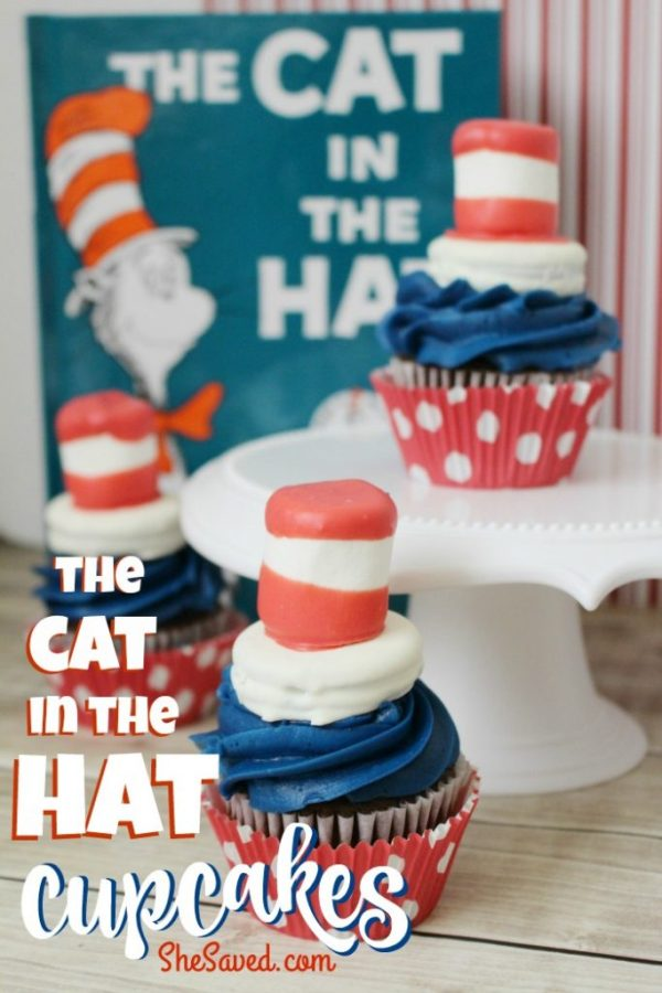 This fun Cat in the Hat cupcake recipe will be a hit at your reading week celebrations, especially for Dr. Seuss fans!