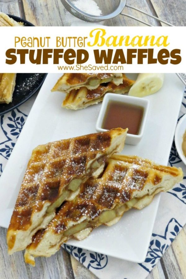 Easy and delicious, these Peanut Butter Banana Stuffed Waffles are a new twist on breakfast and will be a hit with your family!
