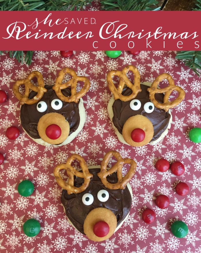 A super fun Christmas cookie to make, these Reindeer Cookies will be a hit at your holiday party, and this is a great idea for classroom Christmas parties too!