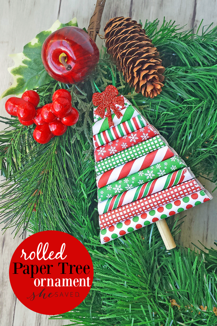 This Rolled Paper Tree Ornament craft is so easy and makes for a darling ornament or package topper!