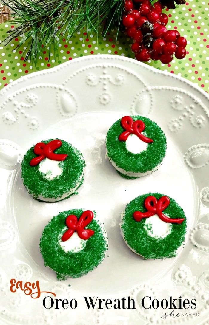 Easy Oreo Wreath Cookies