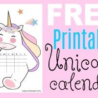2019 FREE Printable Unicorn Calendar