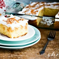 EASY Caramel Poke Cake with Toffee
