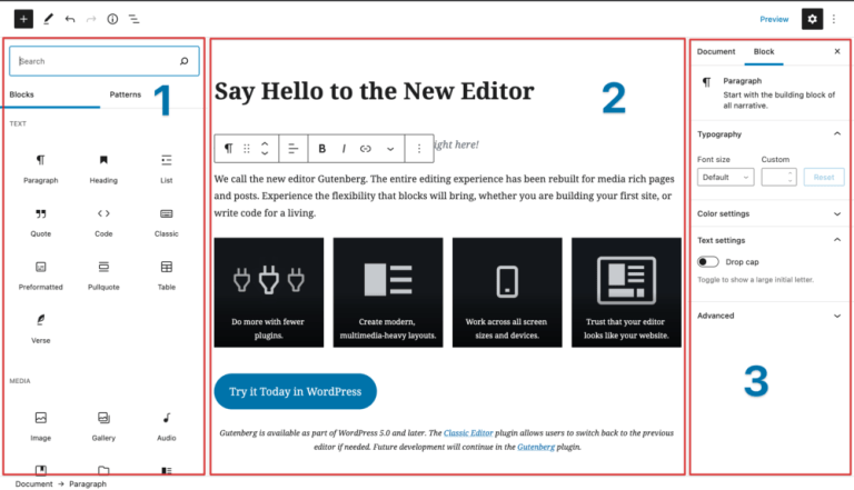 A screenshot of the WordPress.com Gutenberg Editor, with a selection of blocks and an explanation that you can have a multimedia-heavy page layout