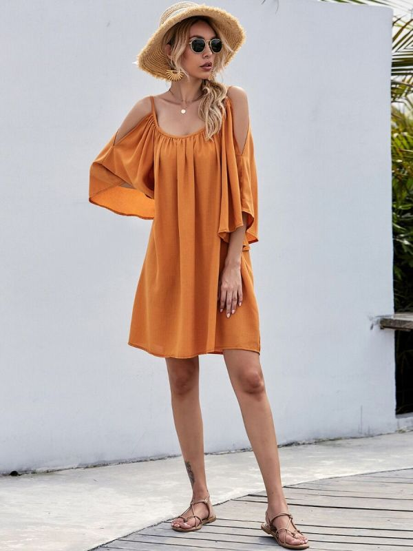 shestar wholesale Off Shoulder Batwing Sleeve Solid Color Dress