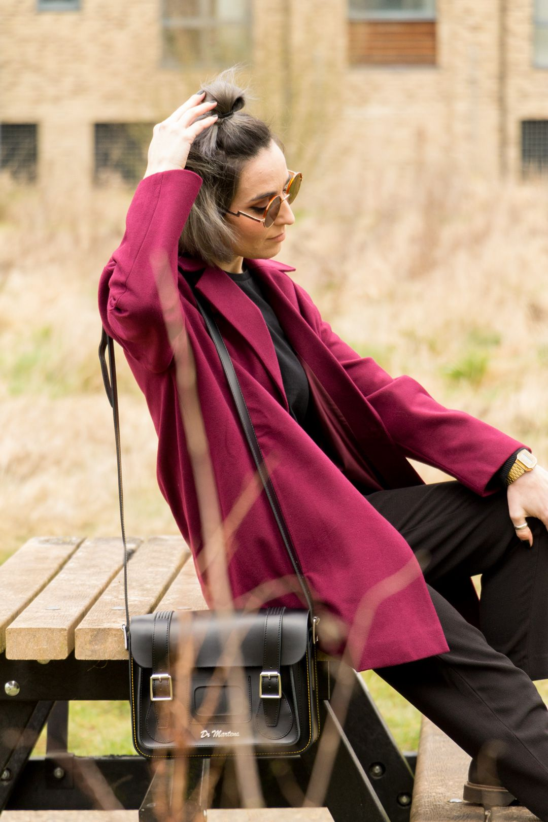 She talks Glam | Oversized Masculine Maroon Coat and all black underneath