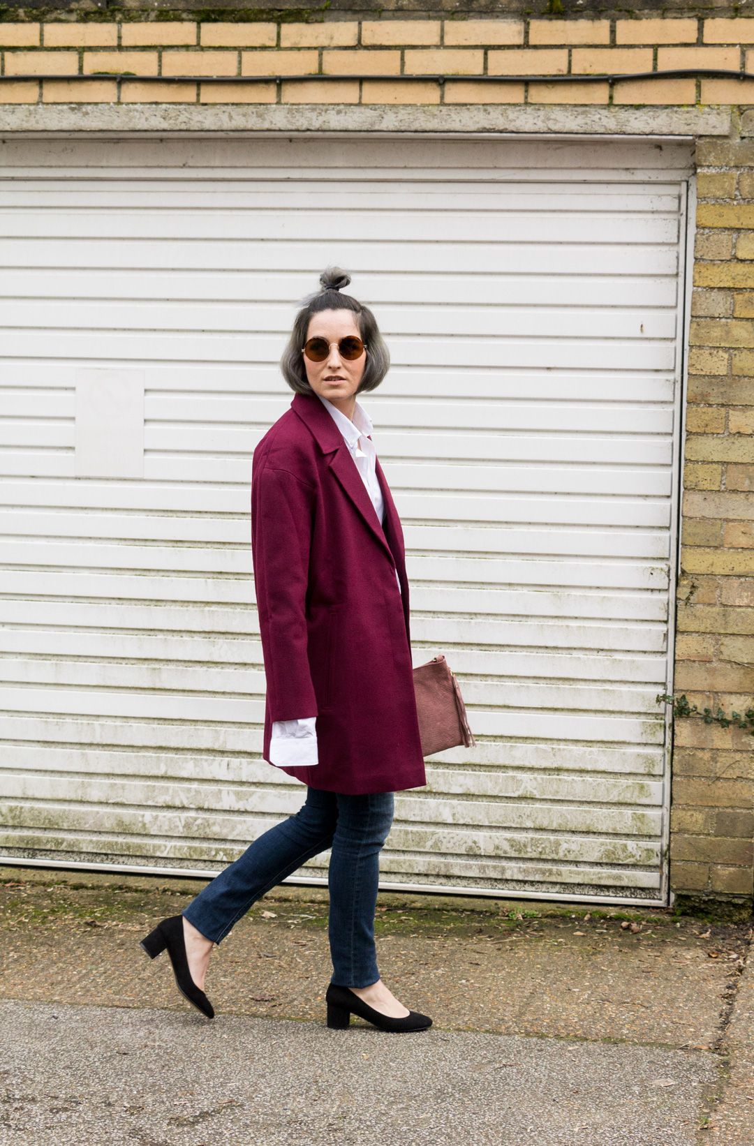 She talks Glam | Boyfriend Shirt | Oversized coat | Block Heels | Casual look