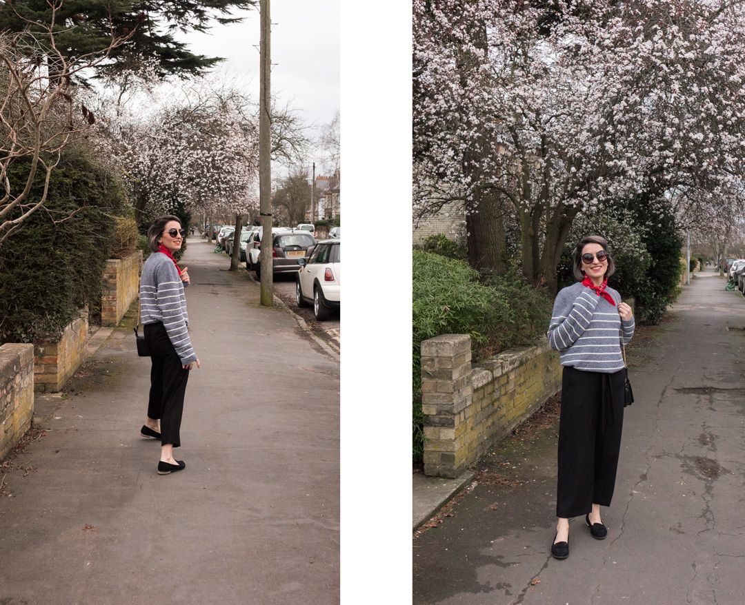 She talks Glam | Culottes&Stripes with a red touch | Spring Outfit