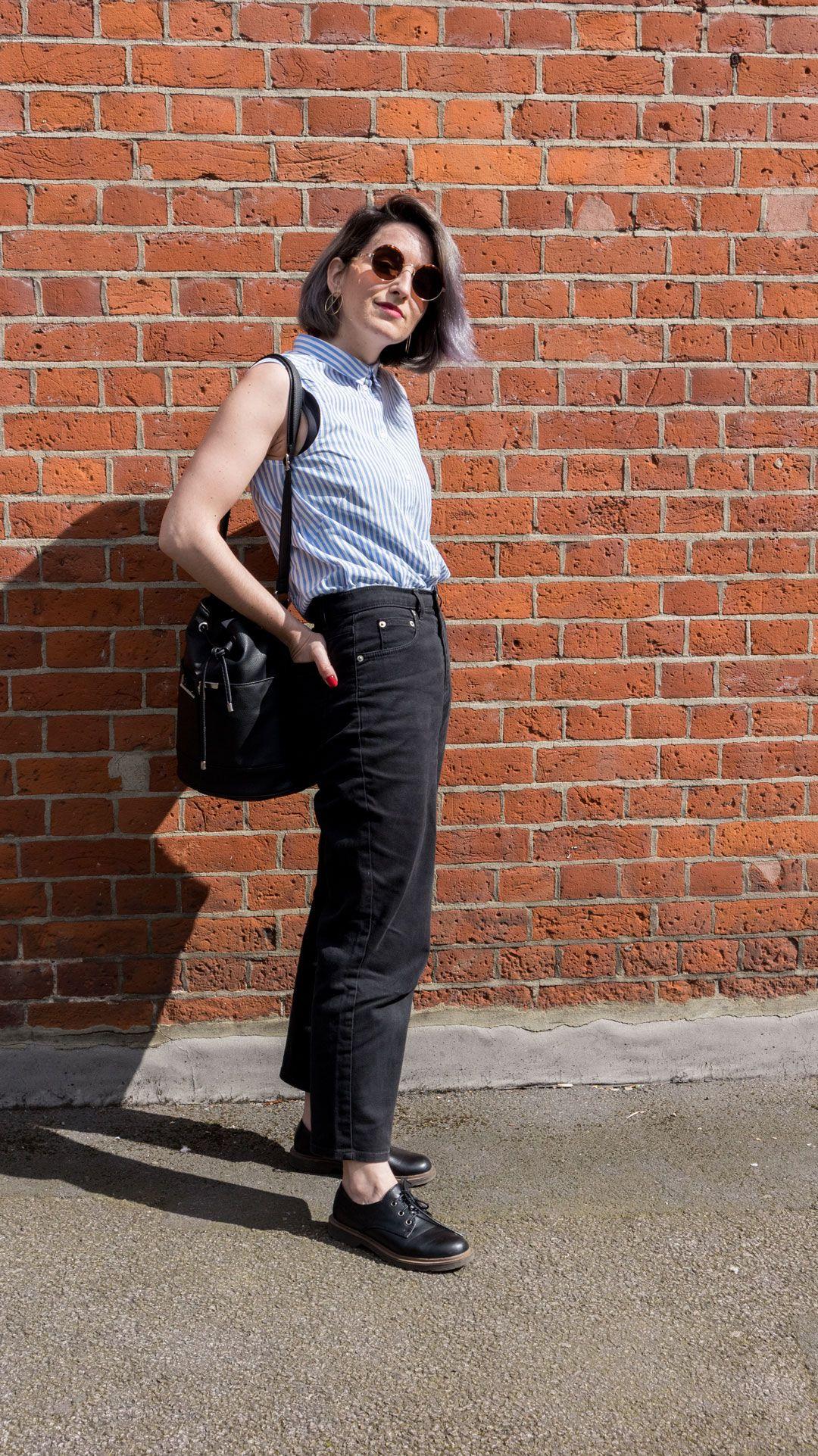 She talks Glam | Lawyer Striped sleeveless Shirt | High-rise Black Jeans | Shoreditch