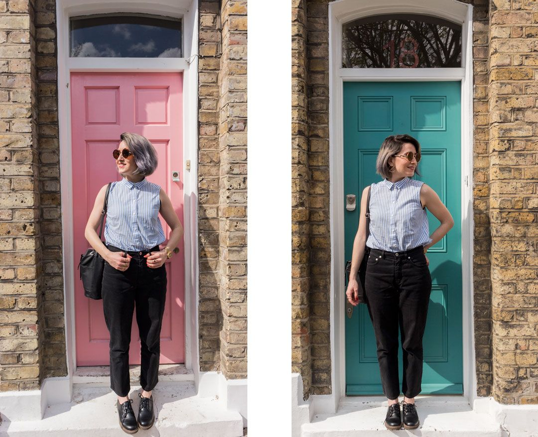 She talks Glam | Lawyer Striped sleeveless Shirt | High-rise Black Jeans | Colourful doors in Shoreditch