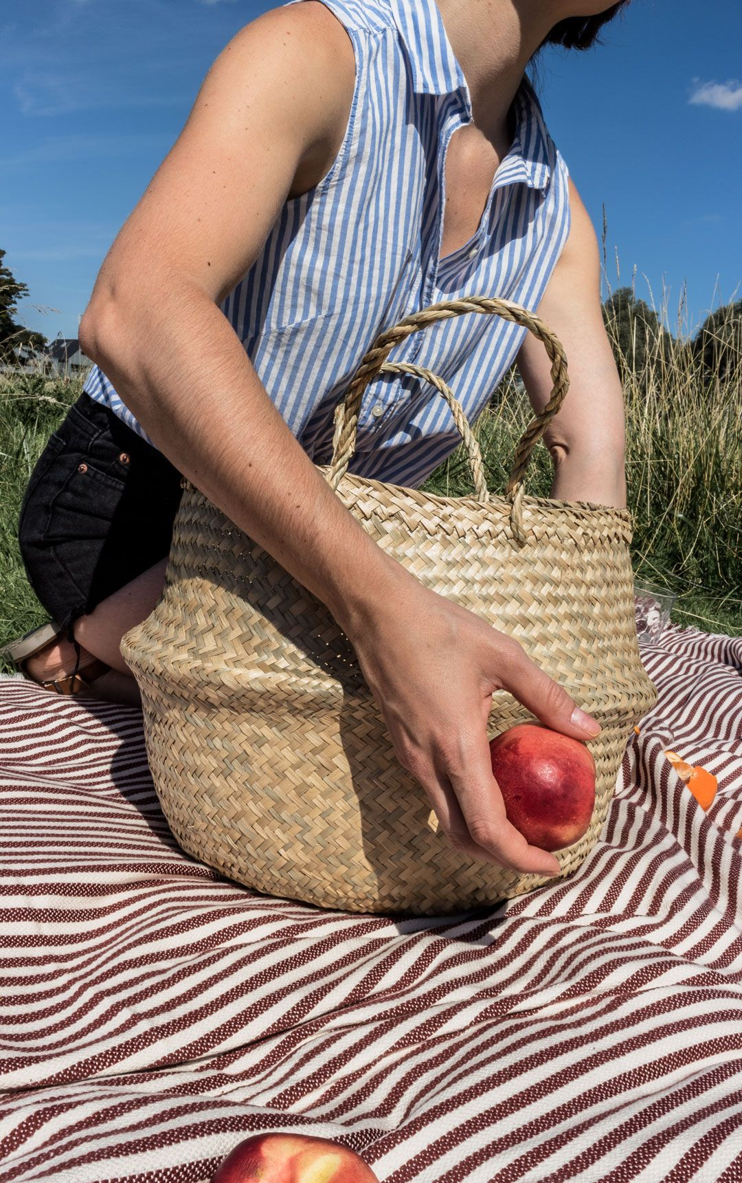 Late Summer Picnic | The net bag that is all over Instagram this summer | IKEA seagrass basket | Lemons and peaches | Summer outfit inspuration | Summer easy outfit | Summer haze | She talks Glam | Cambridge Fashion | Positive Fashion | Saida Antolin | Citrus picnic | Net bag | Mesh bag | Cotton bag | Easy summer picnic