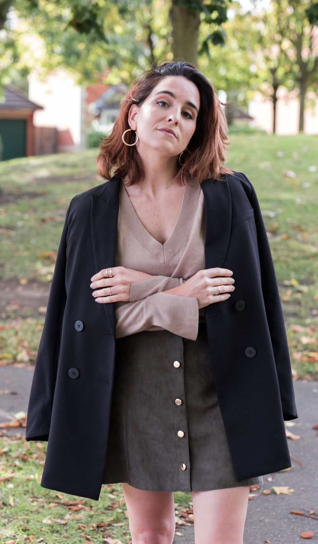 The skirt your wardrobe needs this autumn | Neutral colours | #Autumnfashion | A-line skirt | Olive button down skirt | Blazer season | #blackblazer | #Chicoutfit | #Loafers | How to wear loafers in autumn | #silkscarf | Am I losing myself on the social media labyrinth? | She talks Glam | Saida Antolin | UK blogger | #fallfashion | Urban look | How to wear a blazer | Camel sweater | Camel knit | Slouchy jumper | #LondonStreetstyle | Minimal