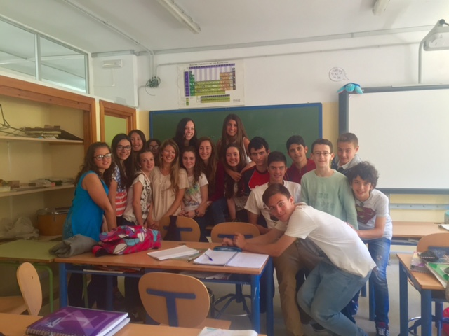 Just hanging out with my students learning English in Spain's cultural ambassador program.