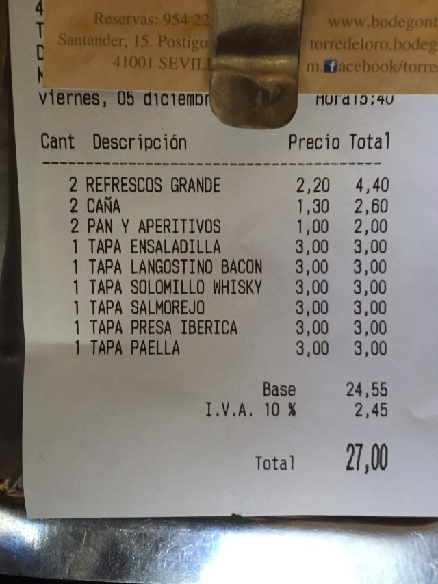 Beer is 1.30 euro and the soda is 2.20. Yikes! Oh yeah, and they charge for bread at the tourist restaurants (keep in mind prices are higher in the picture below because this was a tourist restaurant in Sevilla - 3 euros for a tapa is a little steep).