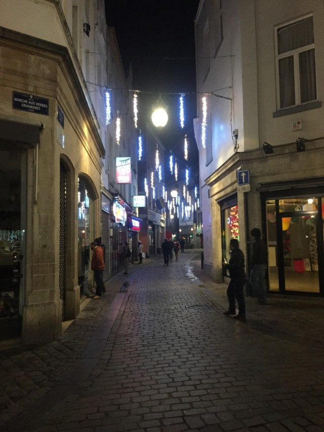 <Brussels cobblestone streets and pretty lights>