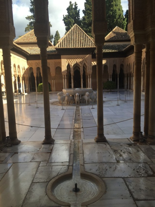 < Things in Spain that aren't common in the U.S.: Granada's La Alhambra with Moorish architecture >