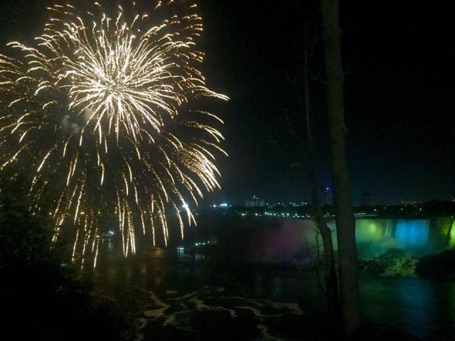 < Fireworks Over the Falls >