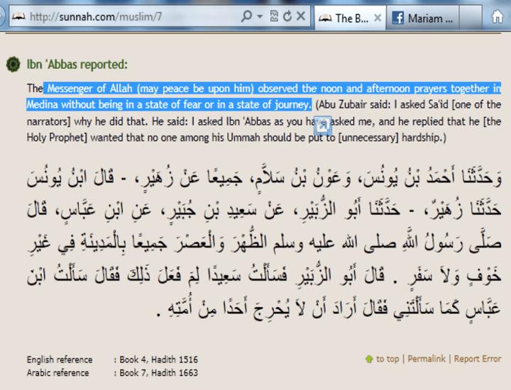 Combining two prayer in Sahih Muslim - 121