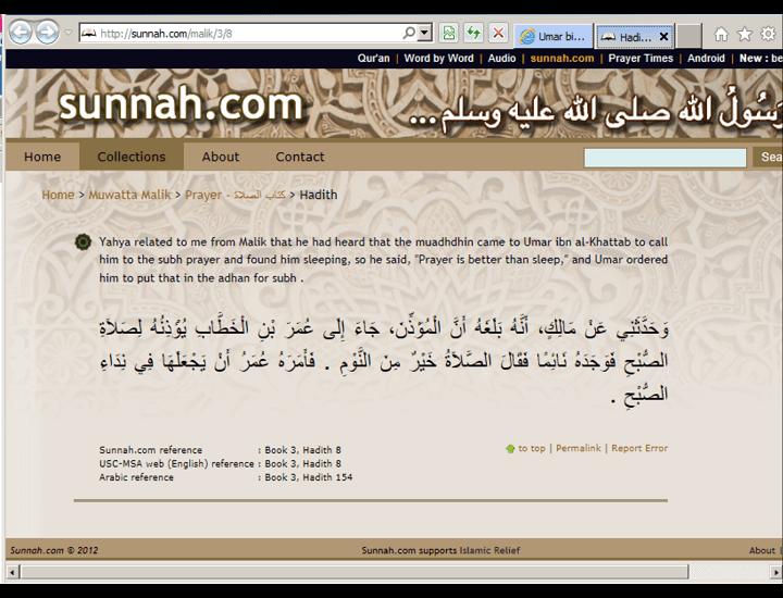 Umar bin Khattab changed the Adhan