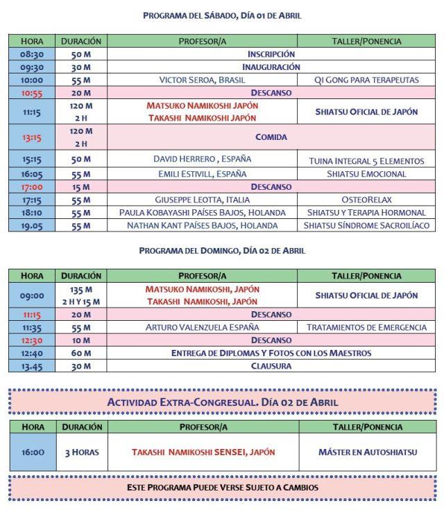 Congreso Internacional Shiatsu Programa