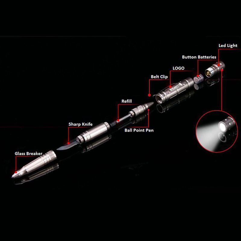 EDC Multi Functional Self-defense Aluminum Tactical Pen with Led Light (3)