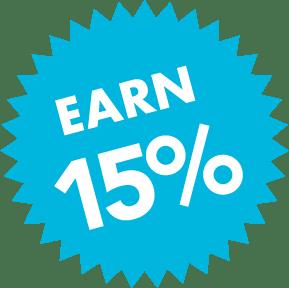 Earn 15%