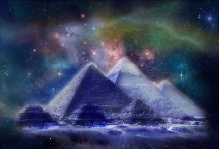 egyptian pyramids night sky
