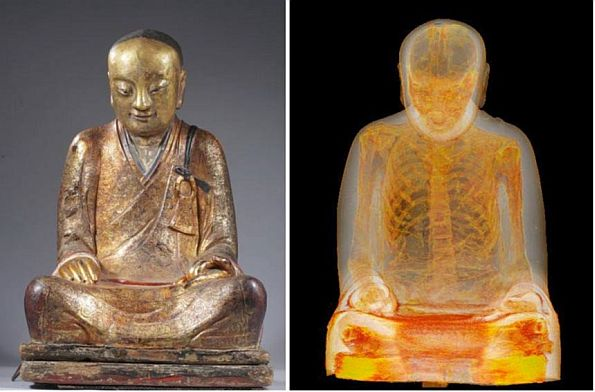 Featured image: Mummified buddhist master Liuquan. Statue (L), CT scan (R). (Photos: Drents Museum)