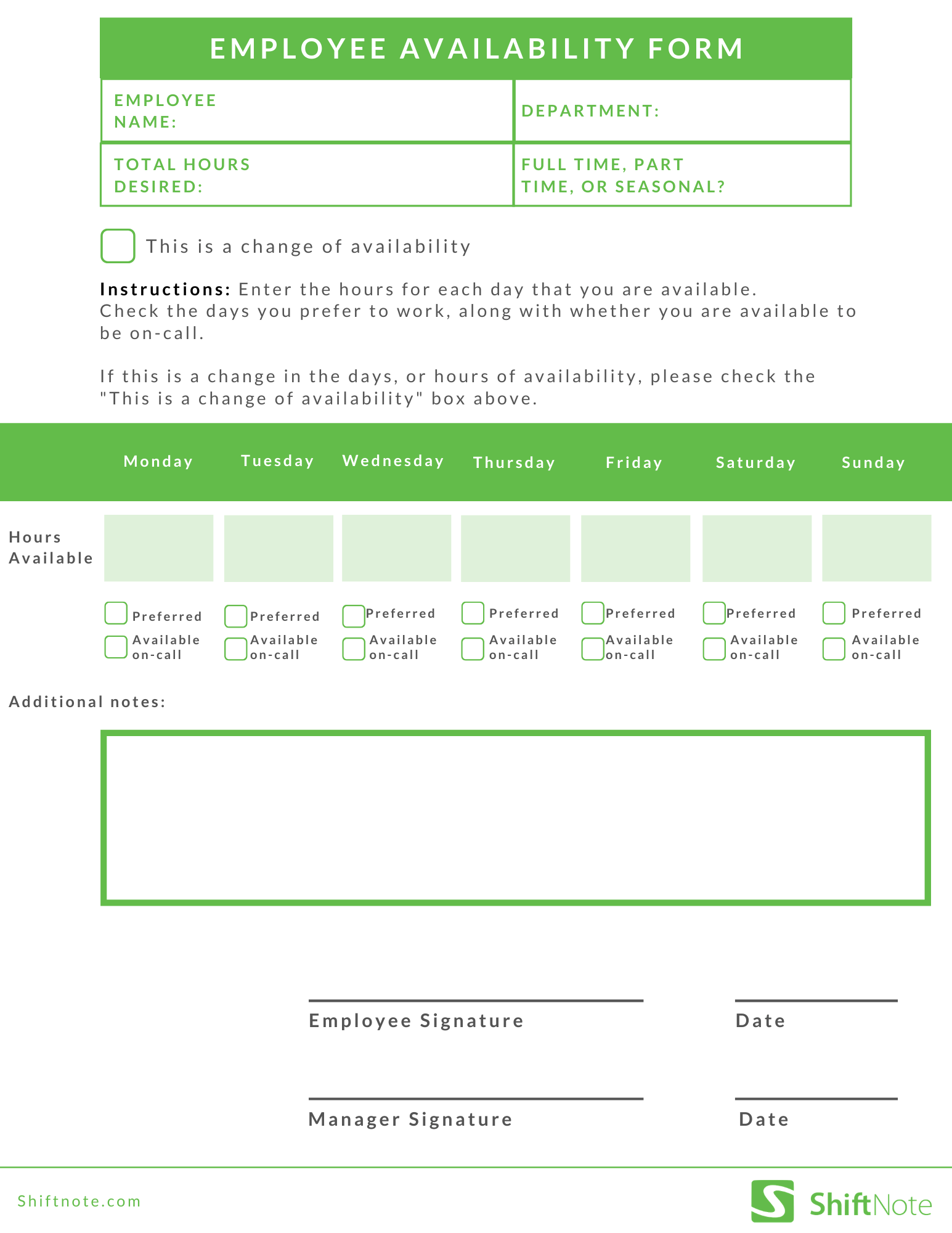 Free Employee Availability Form Template
